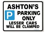 ASHTON'S Personalised Gift |Unique Present for Him | Parking Sign - Size Large - Metal faced